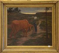scène de campagne avec vache by frans van leemputten