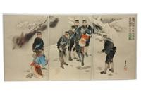 during the advance, captain higuchi carries a chinese child (higuchi taii, shingeri no toji mizuhara dakimo seimin ji no zu)(triptych) by ogata gekko