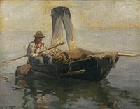 fischer im nachen mit eingezogenen netzen by julius friedrich ludwig runge