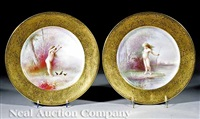 pair of cabinet plates by bailey, banks and biddle