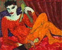 rød model med parakit og kinesisk dukke by karen kjaer laursen
