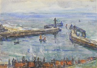 whitby harbor from the hillside by rowland henry hill