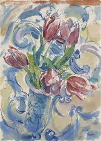 still life with tulips (+ tulip heads; 2 works) by henry korda