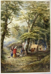 gypsy encampment with donkeys by henry (sr.) earp