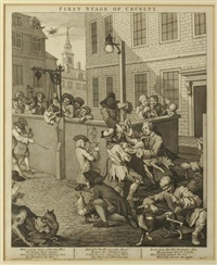 four stages of cruelty: first stage of cruelty; second stage of cruelty; cruelty in perfection; the reward of cruelty (4 works) by william hogarth