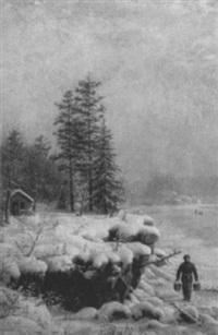 a winter landscape by mortimer l. smith
