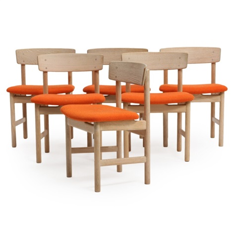 A Set Of Six Oak Side Chairs, Seats With Upholstered With Orange Wool By  Børge
