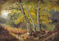 children playing in a wooded glade by edward henry holder