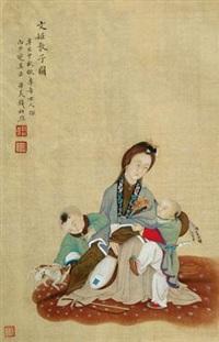文姬教子图 立轴 设色绢本 by qian du