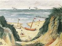blick von der höhe auf südlichen strand mit vorbeiziehenden schiffen by heinrich merkel