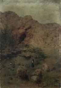 joven junto a un lago by juan aldaz y sancho