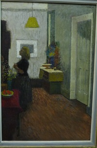 interior scene with a girl standing under a yellow lamp shade by jack millar