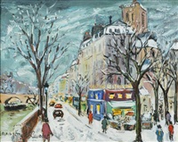 quai de seine louis philippe s/ neige by bruno emile laurent