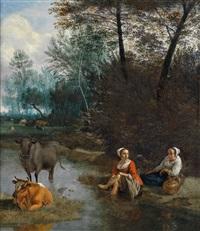 eine rast zweier hirtinnen und ihrer herde an einem gewässer by jan siberechts