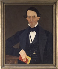 portrait of a man (+ portrait of a woman; pair) by john james trumbull arnold