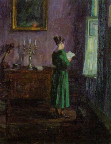 Koch Fenster junge dame im salon am fenster eineb brief lesend by julius koch on