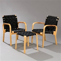 armchairs and stool (model y 61 and 45) (set of 3) by alvar aalto