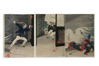 picture of the firm hero harada jukichi fighting fiercely in the attack on the gembu gate (triptych) by toshikata