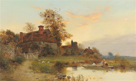 evening on the river buelt kent by walter stuart lloyd