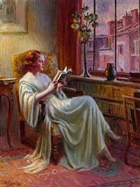 portrait einer lesenden in malerischer bibliothek mit ausblick auf pariser häuser in abendlicher beleuchtung by delphin enjolras