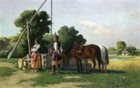 bauernpaar am ziehbrunnen by wladislaw karol szerner