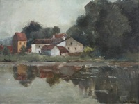 farmhouses and pond by s. pierard
