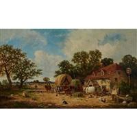 VILLAGERS AND HORSES OUTSIDE THE JOHN HOBS INN, 1873