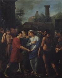 agamemnon gibt die schöne briseis dem helden achilles zurück by johann dominicus fiorillo