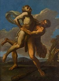 herkules und antäus, 18. jahrhundert by anonymous-italian