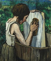 young girl washing clothes by marcel rendu