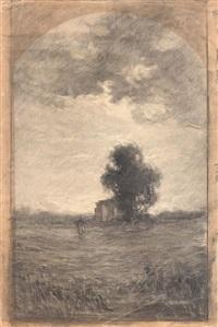paesaggio con figure e colonica by antonio fontanesi