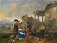 italianisierende landschaft mit einer marktszene vor ruinen by hendrick mommers