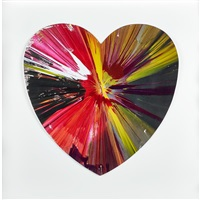 heart spin painting (created at damien hirst spin workshop) by damien hirst