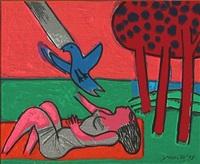 femme, oiseau et arbres by corneille