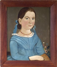 portrait of a girl in a blue dress holding a book by american school-prior-hamblen (19)