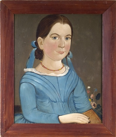 portrait of a girl in a blue dress holding a book by american school prior hamblen 19