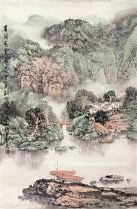 翠岭春云图 by liu xun