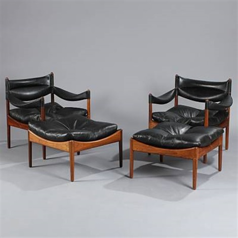 modus easy chairs with stools set of 4 by kristian solmer vedel