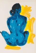 blauer rückenakt, sitzend by luciano castelli
