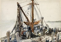 docked fishing boat; seascape (double-sided) by reginald marsh