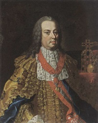 a portrait of franz i stephan of lotharingen, emperor of austria, wearing the order of the golden fleece, in front of a table with the crown of the holy roman empire by michael christoph emanuel hagelgans