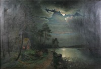 månskenslandskap med stuga by johan petter olai
