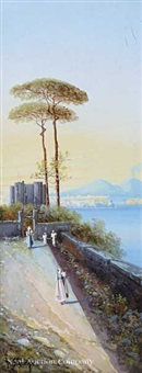 promenade near naples, with a view of mount vesuvius by y. gianni