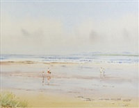 children on a beach at low tide by berthold dunne