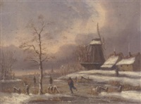 skaters on a frozen waterway in a dutch winter landscape by a. godehortz