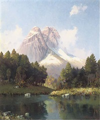 an idyllic alpine view by hans sengthaler