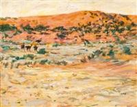 ostriches in a dry landscape by zakkie (zacharias) eloff