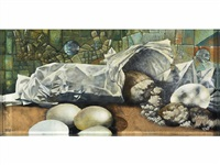 still life with bread and eggs by siegfried gerhard reinhardt