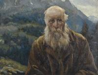 porträt eines bauern vor bergkulisse by giuseppe maldarelli