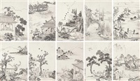人物 (figures) (album of 10) by jiao bingzhen
